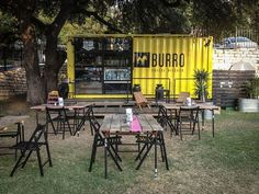 Food Rings Ideas & Inspirations 2017 - DISCOVER I love this pop up food shop. -Burro Cheese Kitchen a sharp looking container plus some tables and chairs Container Design, Container Shop, Container Truck, Shipping Container Restaurant, Shipping Container Homes, Food Truck For Sale, Pop Up Cafe, Food Park, Food Truck Design