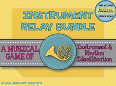 Instrument relay bundle. A bundle of games for instrument family and rhythm identification.