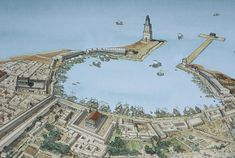 beautiful reconstruction of the port of Leptis Magna in North Africa (Libya) by Jean-Claude Golvin
