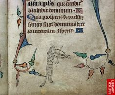 'Cat playing a rebec' from Book of Hours (S.E. England, c1320-c1330),  shelfmark Harley 6563 f. 40  British Library Board.