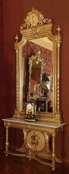 Console Et Son Miroir d'époque XIXème