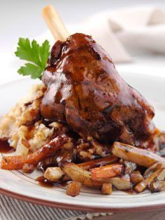 I do lamb shanks in my pressure cooker and the meat practically falls off the bone. They're tender and delicious. Buffets, Lamb Shanks, Fast Food, Lamb Recipes, Recipe Details, Food For Thought, Family Meals, Coco, Gourmet