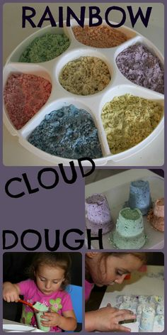 Cloud Dough: This moldable, yet crumbly, dough is made from flour and oil (baby oil). That's it. It's so simple and I've found that even if it spills all over my table and hardwood floors, it's easy to clean up. If you add a little bit of lavender oil to the dough it will also leave your hands with a yummy smell.