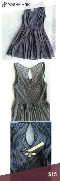 "Lauren Conrad Lace-back Cotton Dress Gray- purple. Super flattering fit, sadly a little short for 5'8"" me. Side zip. Crochet lace keyhole back. Fully lined. 100% cotton. New with tags. Lauren Conrad   Dresses Mini"