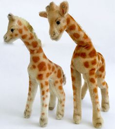 Steiff #Giraffe x 2 Mohair Plush 28 and 35cm 11 and 14in one ID Button 1960s Vtg #Steiff AllOccasion