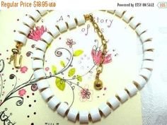 BIG SALE White/gold Trifari Key Necklace Vintage Modern Bride