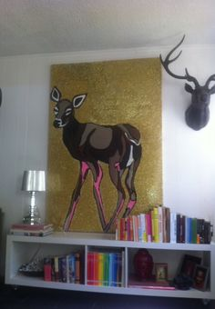 Deer.acrylic and glitter on canvas.6ft by 4 ft
