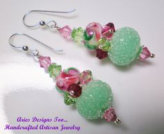 Pale Green and Pink Sugared Abstract Lampwork by ariesdesignstoo