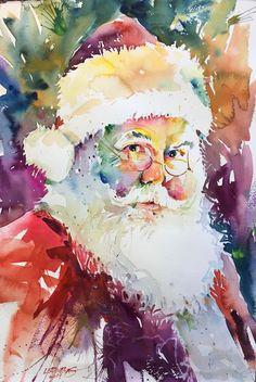 By David Lobenberg (watercolor). By David Lobenberg (watercolor). Santa Paintings, Christmas Paintings, Christmas Art, Xmas, Watercolor Clipart, Watercolor Cards, Watercolor Paintings, Watercolors, Abstract Paintings