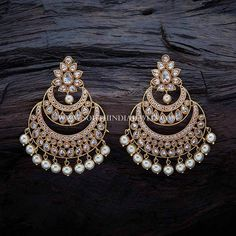 Gold Plated Antique Chandbali Earrings | by southindiajewels