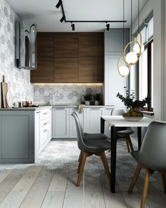 Modern Grey Kitchen with Wooden Cabinets, and Breakfast Nook with milky shade golden pendant lights Modern Grey Kitchen, Grey Kitchen Designs, Interior Design Kitchen, Modern Interior Design, Modern Kitchen Design, Modern Kitchen Lighting, Green Kitchen, Interior Ideas, Contemporary Design