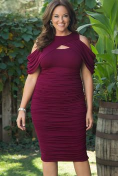 Love the bodycon trend? Our plus size Bianca Ruched Dress will make you feel sexy! Made in the USA. www.kiyonna.com