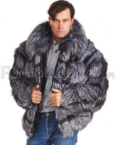 Shop FurHatWorld for the best selection of Mink & Fox Fur Coats for Men. Buy the Dominic Layered Silver Fox Fur Bomber Jacket for Men with fast same day shipping.