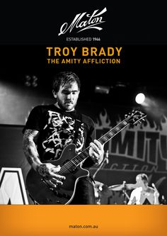 Troy Brady from The Amity Affliction playing his Maton Guitar