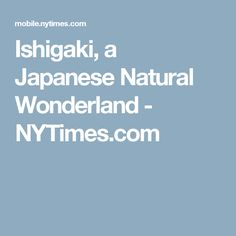 Ishigaki, a Japanese Natural Wonderland - NYTimes.com