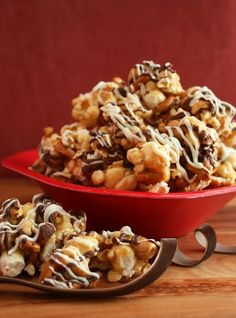 fancy popcorn chocolate chips, almond, white chocolate and pretzels  RECIPE