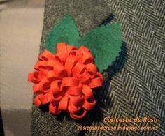 Las Cosicosas de Rosa: Flor de bucles. #broche #fieltro