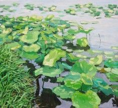 "Lotus pond, 24"" high x Vietnamese actual hand painted original oil painting -  $139.00.  http://www.bonanza.com/listings/Lotus-pond-24-high-x-Vietnamese-actual-hand-painted-original-oil-painting/36756168"