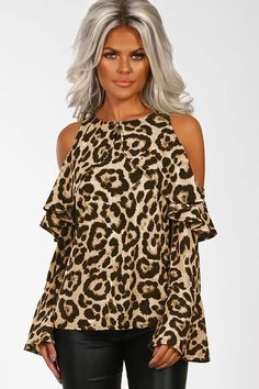 Women Brown-leopard Bare Shoulder Ruffles Flare Sleeve Sexy Blouse - S Leopard Blouse, Leopard Fashion, Sexy Blouse, Cold Shoulder Blouse, Brown Leopard, Blouse Online, Blouses For Women, Chic, Polyester Spandex
