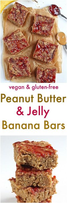 Peanut Butter and Jelly Banana Bars [Gluten-Free / Vegan]