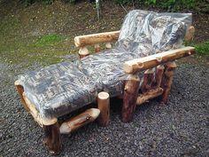 Aspen Log Futon Chair & Ottoman (folds down to single bed)  (814) 257-8911 or facebook at Old Farm Amish Furniture for a complete line of rustic log amish made furniture in aspen, sassafras, hickory, peeled pine, cedar and more :)