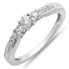 0.33 Carat (ctw) 14k White Gold Brilliant Round Diamond Three Stone Ladies Engagement Bridal Promise Ring DazzlingRock Collection. $459.00. Diamond Color / Clarity : H-I / I1-I2. Diamond Weight : 0.33 ct tw.. Items is smaller than what appears in photo. Photo enlarged to show detail. Weighs approximately 1.78 grams. Crafted in 10k white-gold. Save 67% Off!