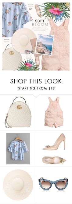 """""""Soft Bloom"""" by monazor ❤ liked on Polyvore featuring Gucci, H&M, Carlo Pazolini, Eugenia Kim, Thierry Lasry, floralprint, pastels, womenfashion and summer2017"""