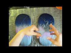 МК как сделать красивую пяточку на валяных тапочках-шлепках - YouTube