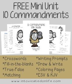 FREE -10 Commandments Mini Unit Study