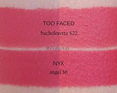 We also recently purchased a handful of the new @toofaced La Matte Color Drenched Matte lipsticks! Here's a near spot on color alternative to @toofaced Bachelorette (that's just a hint deeper) from @nyxcosmetics.  As always the products are labeled correctly. The photos on the left and right are the same swatches in different lighting!  by dupethat