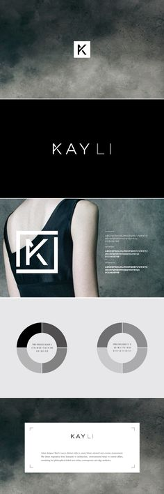 Kay Li Identity and branding. I love the sophisticated monochromatic pallet. Great Logo Design, Design Logo Inspiration, Packaging Inspiration, Graphisches Design, Cover Design, Corporate Design, Brand Identity Design, Graphic Design Typography, Corporate Identity