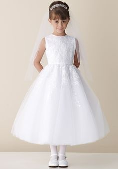 Princess White Appliques Lace Flower Girl Dresses for Weddings 2015 First Communion Dresses for Girls Pageant Interview Vestidos