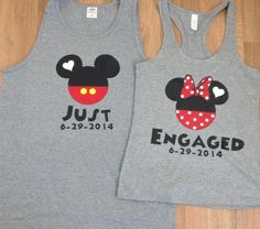 Free Shipping Disney just engaged Mickey and Minnie Couples Shirts/Tank Tops