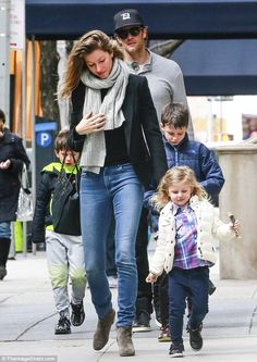 Family funday: Gisele Bündchen, 35,  and Tom Brady, 38, had a full brood with them as they stepped out in New York City on Sunday