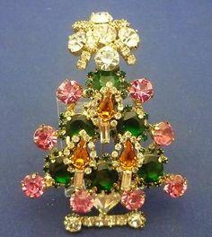Signed Vintage RR Rhinestone Christmas Xmas Tree Brooch Pink Green Amber White