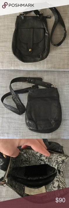 Cynthia Vincent Crossbody Bag Like new condition! Hardly used. Supple and soft black leather, fabric liner, and aged brass hardware. Comes with original dust bag. Cynthia Vincent Bags Crossbody Bags