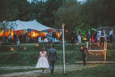 Festoon Lights - Rockabilly Style Wedding Dress For A Rustic Outdoor Wedding In Bristol With Flowers By Flower Riot And Images By Noel Deasington