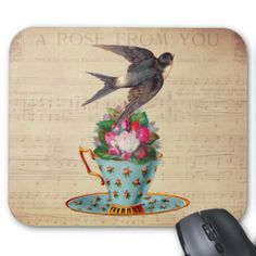 SOLD! Vintage Bird, Roses, and Teacup Mouse Pad by VintageArtBazaar on Zazzle. #tea #teacups #mousepads