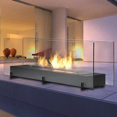 Eco-Feu The Vision an extra large table top or small free stand unit, whichever suits your needs. This linear unit features a high strength 304 stainless steel burner and high quality tempered glass. Biofuel Fireplace, Bioethanol Fireplace, Modern Outdoor Fireplace, Indoor Outdoor Fireplaces, Foyers, Dream Home Design, House Design, Tabletop Fireplaces, Freestanding Fireplace