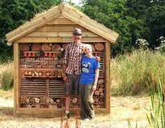 Lynn with Joel - the creator of our minibeast mansion (bug hotel)