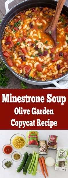 Minestrone soup is so hearty it can stand on its own as the main dish! A copycat of recipe from Olive Gar Minestrone soup is so hearty it can stand on its own as the main dish! A copycat of recipe from Olive Garden! Easy one pot soup recipe. Easy Soup Recipes, Crockpot Recipes, Vegetarian Recipes, Dinner Recipes, Cooking Recipes, Healthy Recipes, Healthy Soup, 5 Can Soup Recipe, Easy Crockpot Soup