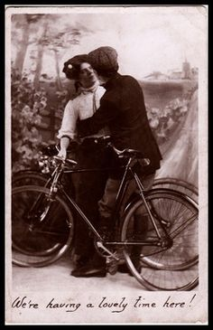 Vintage 1910 RP B Postcard Sports Cycling bicycle Edwardian Couple Cyclist