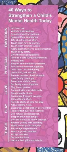40 Ways to Strengthen a Child's Mental Health Today Conscious Parenting, Mindful Parenting, Gentle Parenting, Parenting Advice, Kids And Parenting, Conscious Discipline, Kids Mental Health, Mental And Emotional Health, Lob