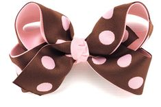 image of Pink on Brown Reversed Polka Dots Hair Bow