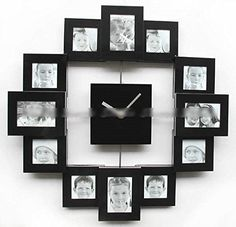 Superior Modern Family Home Multi Color 12 Picture Photo Frame Quartz Wall Clock  Black *** Great Pictures