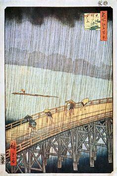 """Rain""  (Japanese) : Ando Hiroshige Wood-block : Circa 1857 : Fine Art Giclee #Woodblock"