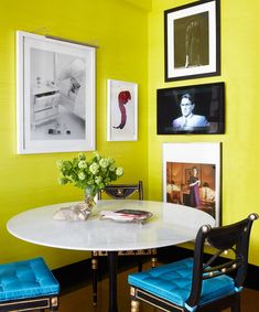farrow & ball yellow cake paint.  perhaps the color for the mirrored door trim and the table base?  looks good with brass...