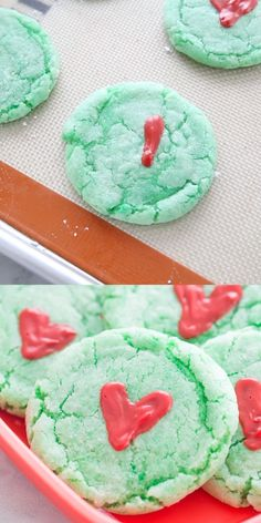 Grinch Cookies: a fun cake mix cookie recipe to help celebrate the Christmas season! Perfect for a friendly Grinchmas party! Grinch Cookies: a fun cake mix cookie recipe to help celebrate the Christmas season! Perfect for a friendly Grinchmas party! Grinch Cake, Grinch Cookies, Holiday Cookies, Holiday Treats, Holiday Recipes, Thanksgiving Sides, Thanksgiving Desserts, Dinner Recipes, Cake Mix Cookie Recipes
