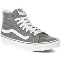 The Vans SK8 Hi Slim are the perfect skate shoe. Protect your ankles from getting smashed and feel great with the lightweight rubber sole that won't wear down your first week of skateboarding. Durable and Fashionable! #vans #sk8 #skateshoe
