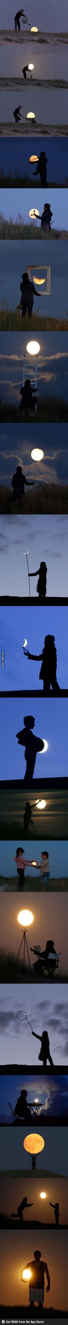 Funny pictures about Having fun with the moon. Oh, and cool pics about Having fun with the moon. Also, Having fun with the moon. Creative Photography, Amazing Photography, Art Photography, Photography Lighting, Perspective Photography, Wedding Photography, Great Photos, Cool Pictures, Beautiful Pictures